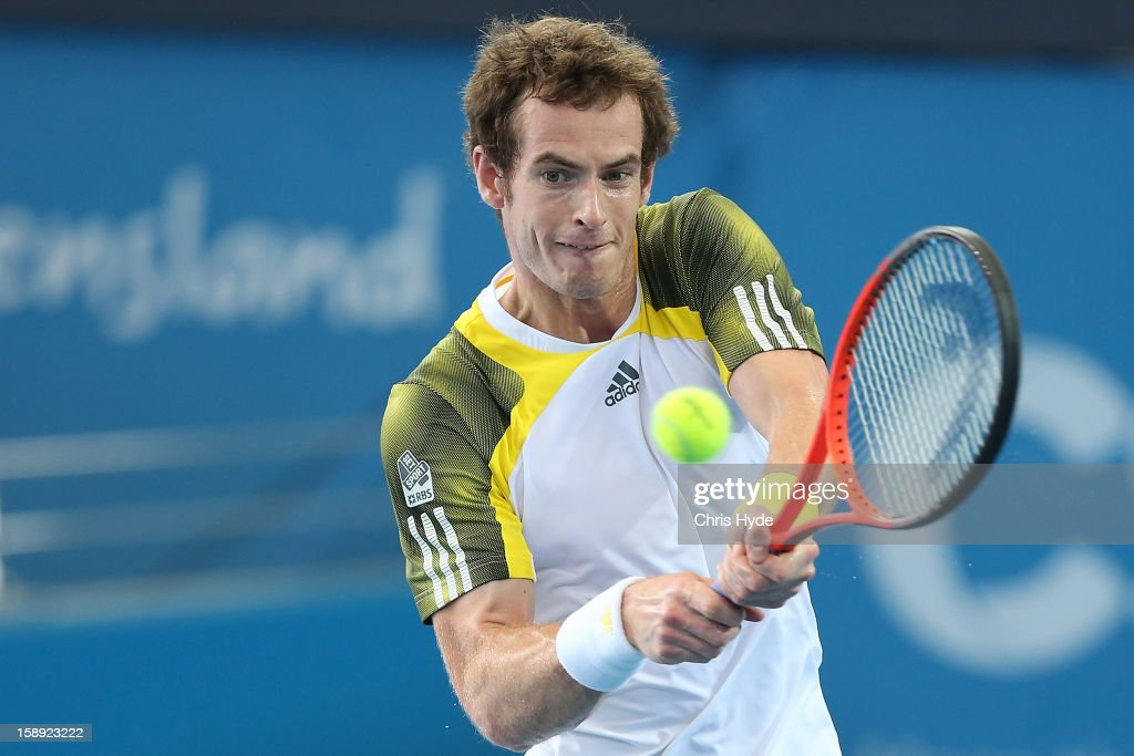 <a gi-track='captionPersonalityLinkClicked' href=/galleries/search?phrase=Andy+Murray+-+Tennis+Player&family=editorial&specificpeople=200668 ng-click='$event.stopPropagation()'>Andy Murray</a> of Great Britain plays a backhand during his match against Denis IstomIn of Uzbekistan on day six of the Brisbane International at Pat Rafter Arena on January 4, 2013 in Brisbane, Australia.