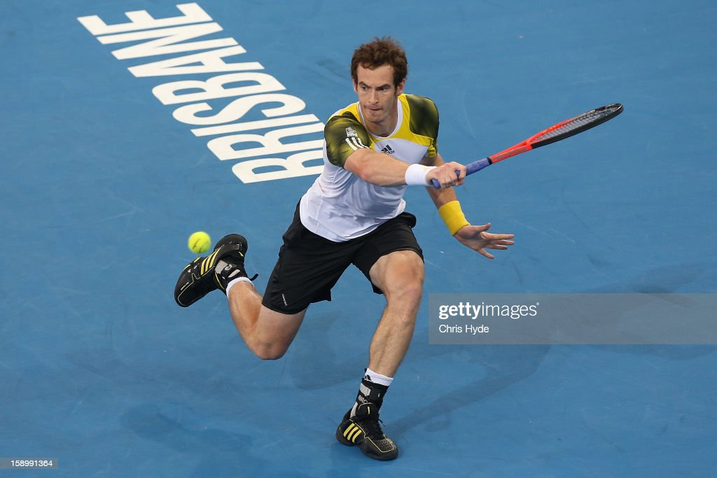 Andy Murray of Great Britain plays a backhand during his semi final match against Kei Nishikori of Japan during day seven of the Brisbane International at Pat Rafter Arena on January 5, 2013 in Brisbane, Australia.