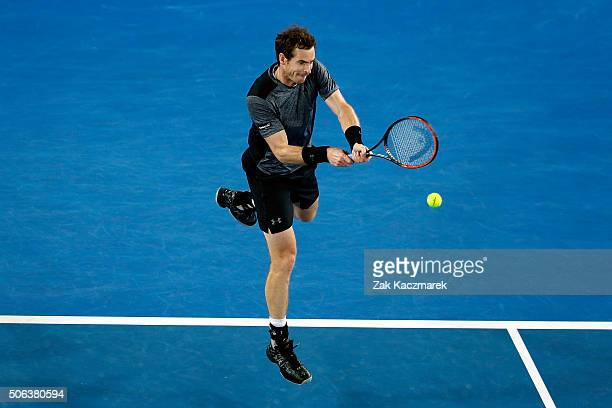 Andy Murray of Great Britain plays a backhand during his third round match against Joao Sousa of Portugal during day six of the 2016 Australian Open...