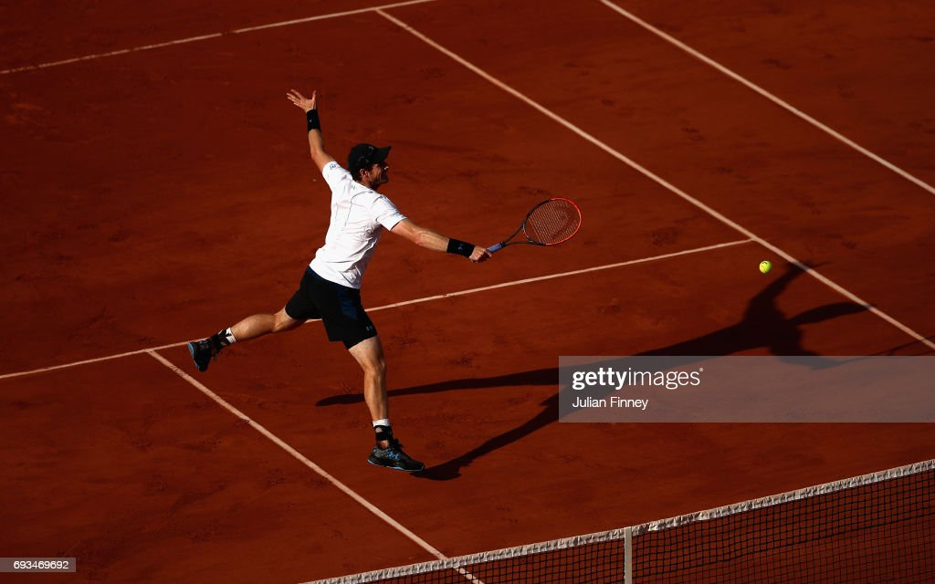 Andy Murray of Great Britain plays a backhand during mens singles quarter finals match against Kei Nishikori of Japan on day eleven of the 2017 French Open at Roland Garros on June 7, 2017 in Paris, France.