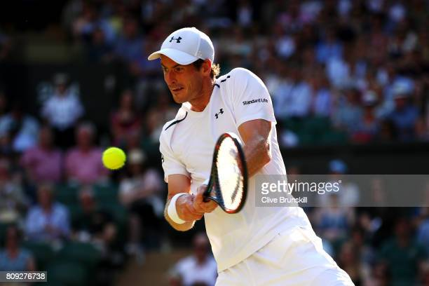 Andy Murray of Great Britain plays a backhand during the Gentlemen's Singles second round match against Dustin Brown of Germany on day three of the...