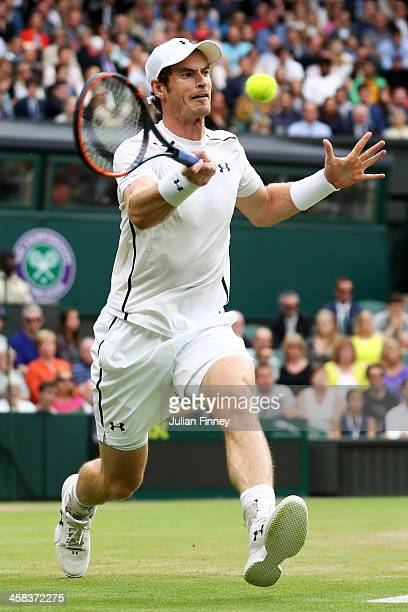 Andy Murray of Great Britain plays a backhand during the Men's Singles third round match against John Millman of Australia on day six of the...