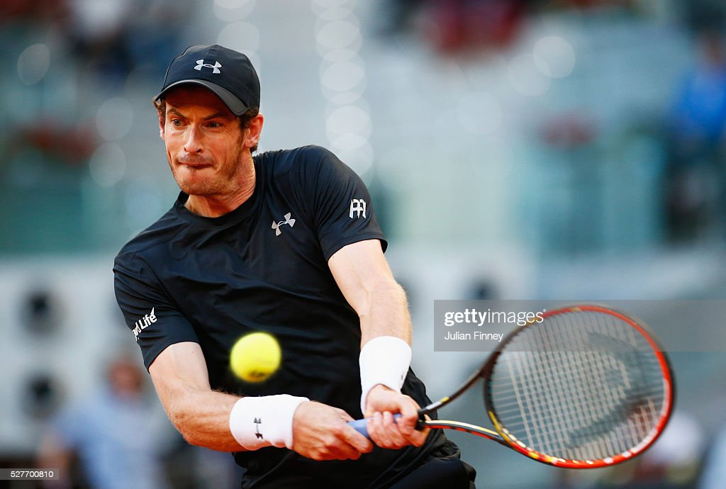 <a gi-track='captionPersonalityLinkClicked' href=/galleries/search?phrase=Andy+Murray+-+Tennis+Player&family=editorial&specificpeople=200668 ng-click='$event.stopPropagation()'>Andy Murray</a> of Great Britain plays a backhand during the Men's singles second round match against Radek Stepanek of the Czech Republic on day four of the Mutua Madrid Open at La Caja Magica on May 3, 2016 in Madrid, Spain.