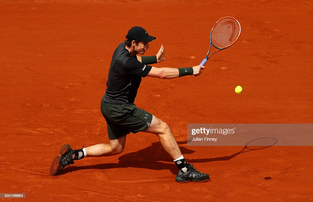 <a gi-track='captionPersonalityLinkClicked' href=/galleries/search?phrase=Andy+Murray+-+Tennis+Player&family=editorial&specificpeople=200668 ng-click='$event.stopPropagation()'>Andy Murray</a> of Great Britain plays a backhand during the Men's Singles second round match against Mathias Bourgue of France on day four of the 2016 French Open at Roland Garros on May 25, 2016 in Paris, France.