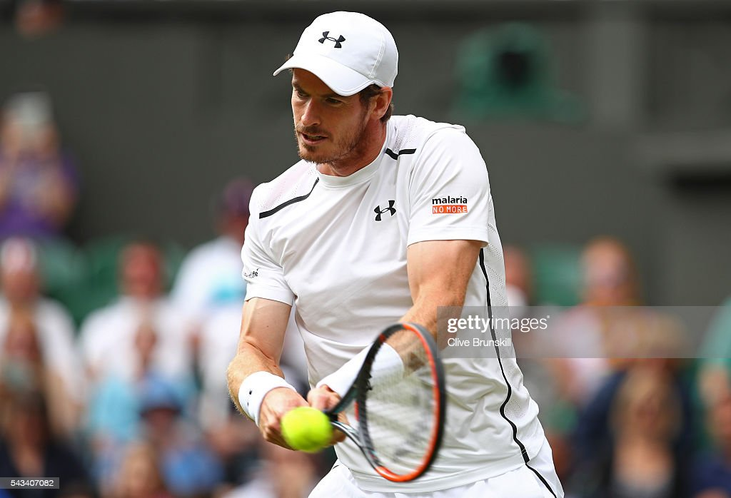 <a gi-track='captionPersonalityLinkClicked' href=/galleries/search?phrase=Andy+Murray+-+Tennis+Player&family=editorial&specificpeople=200668 ng-click='$event.stopPropagation()'>Andy Murray</a> of Great Britain plays a backhand during the Men's Singles first round match against Liam Broady of Great Britain on day two of the Wimbledon Lawn Tennis Championships at the All England Lawn Tennis and Croquet Club on June 28, 2016 in London, England.