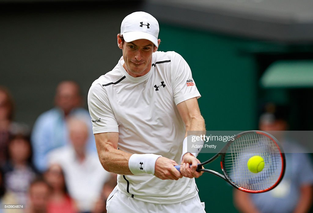 <a gi-track='captionPersonalityLinkClicked' href=/galleries/search?phrase=Andy+Murray+-+Tennis+Player&family=editorial&specificpeople=200668 ng-click='$event.stopPropagation()'>Andy Murray</a> of Great Britain plays a backhand during the Men's Singles second round match against Yen-Hsun Lu of Taipei on day four of the Wimbledon Lawn Tennis Championships at the All England Lawn Tennis and Croquet Club on June 30, 2016 in London, England.