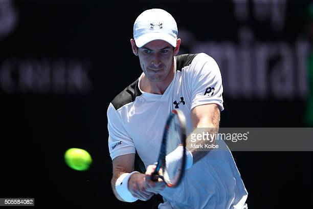 Andy Murray of Great Britain plays a backhand his first round match against Alexander Zverev of Germany during day two of the 2016 Australian Open at...