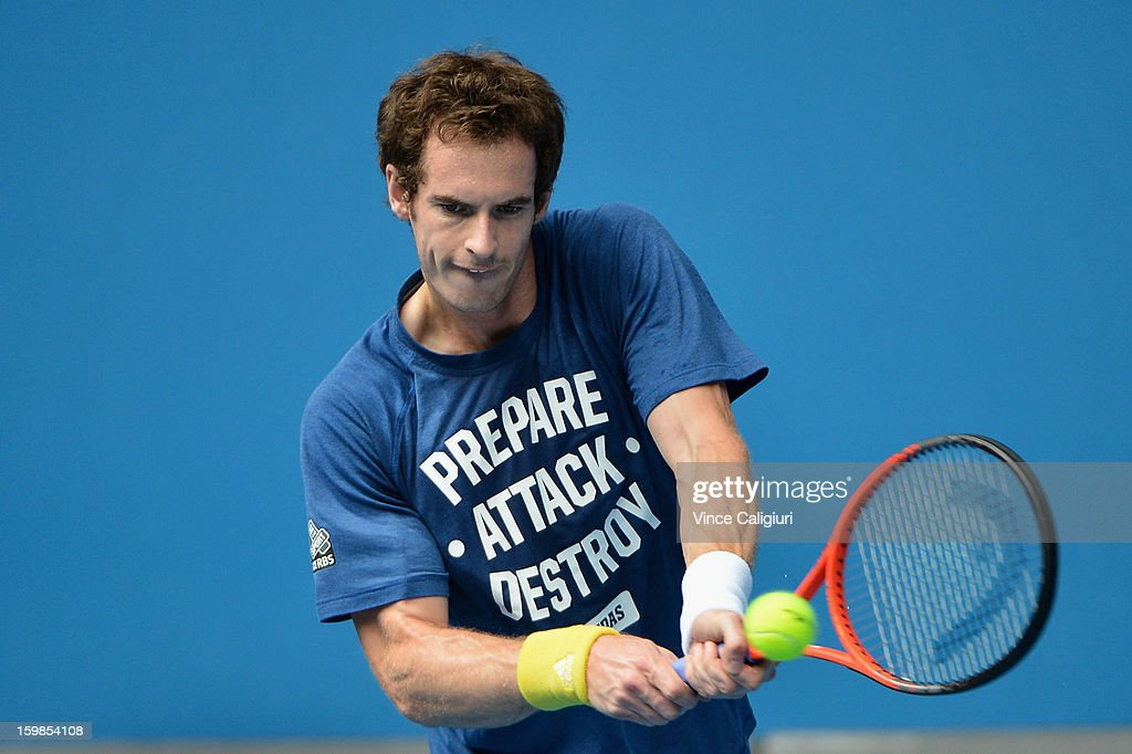Andy Murray of Great Britain plays a backhand in a practice session during day nine of the 2013 Australian Open at Melbourne Park on January 22, 2013 in Melbourne, Australia.