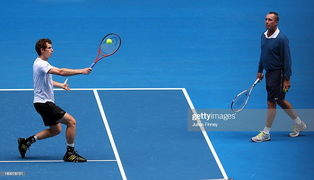 Andy Murray of Great Britain plays a backhand in a practice session during day thirteen of the 2013 Australian Open at Melbourne Park on January 26, 2013 in Melbourne, Australia.