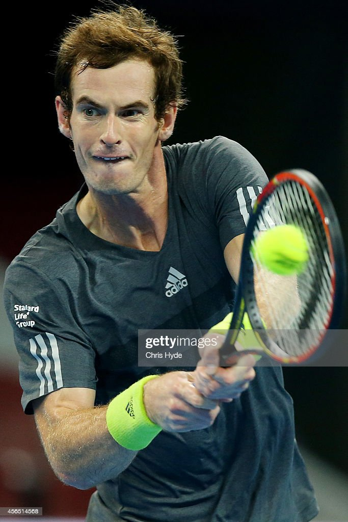 Andy Murray of Great Britain plays a backhand in his match against Pablo Cuevas of Uruguay during day six of of the China Open at the National Tennis Center on October 2, 2014 in Beijing, China.