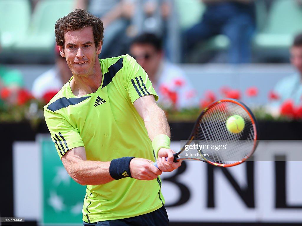 Andy Murray of Great Britain plays a backhand in his match against Jurgen Melzer of Austria during day five of the Internazionali BNL d'Italia tennis 2014 on May 15, 2014 in Rome, Italy.