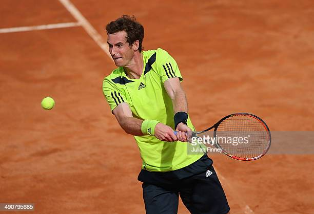 Andy Murray of Great Britain plays a backhand in his match against Jurgen Melzer of Austria during day five of the Internazionali BNL d'Italia tennis...