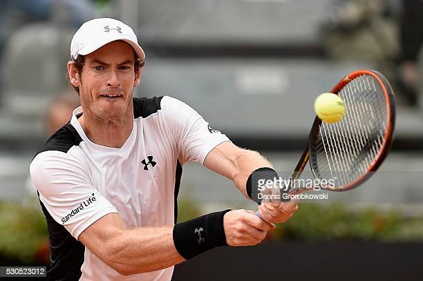 Andy Murray of Great Britain plays a backhand in his match against Mikhail Kukushkin of Kazakshtan on Day Four of The Internazionali BNL d'Italia on...