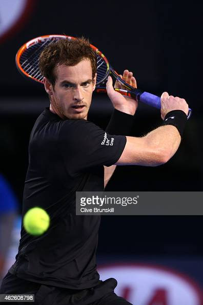 Andy Murray of Great Britain plays a backhand in his men's final match against Novak Djokovic of Serbia during day 14 of the 2015 Australian Open at...