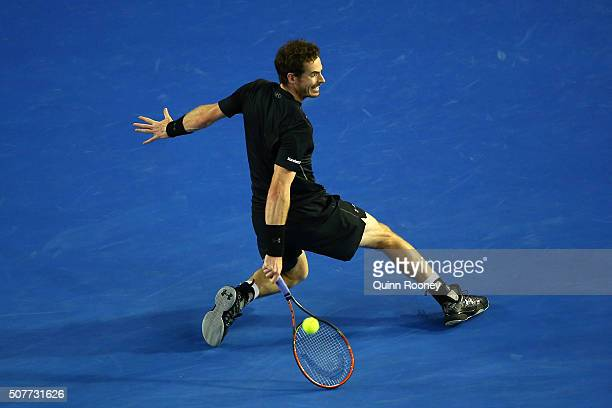 Andy Murray of Great Britain plays a backhand in his Men's Singles Final match against Novak Djokovic of Serbia during day 14 of the 2016 Australian...