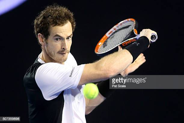 Andy Murray of Great Britain plays a backhand in his semi final match against Milos Raonic of Canada during day 12 of the 2016 Australian Open at...