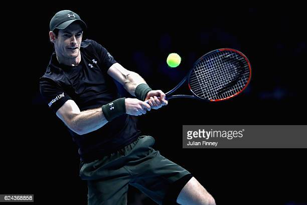 Andy Murray of Great Britain plays a backhand shot during his men's singles semi final against Milos Raonic of Canada on day seven of the ATP World...
