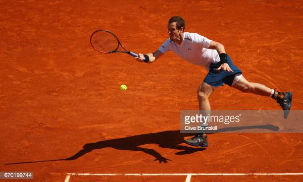 Andy Murray of Great Britain plays a forehand against Gilles Muller of Luxembourg in his second round match on day four of the Monte Carlo Rolex...