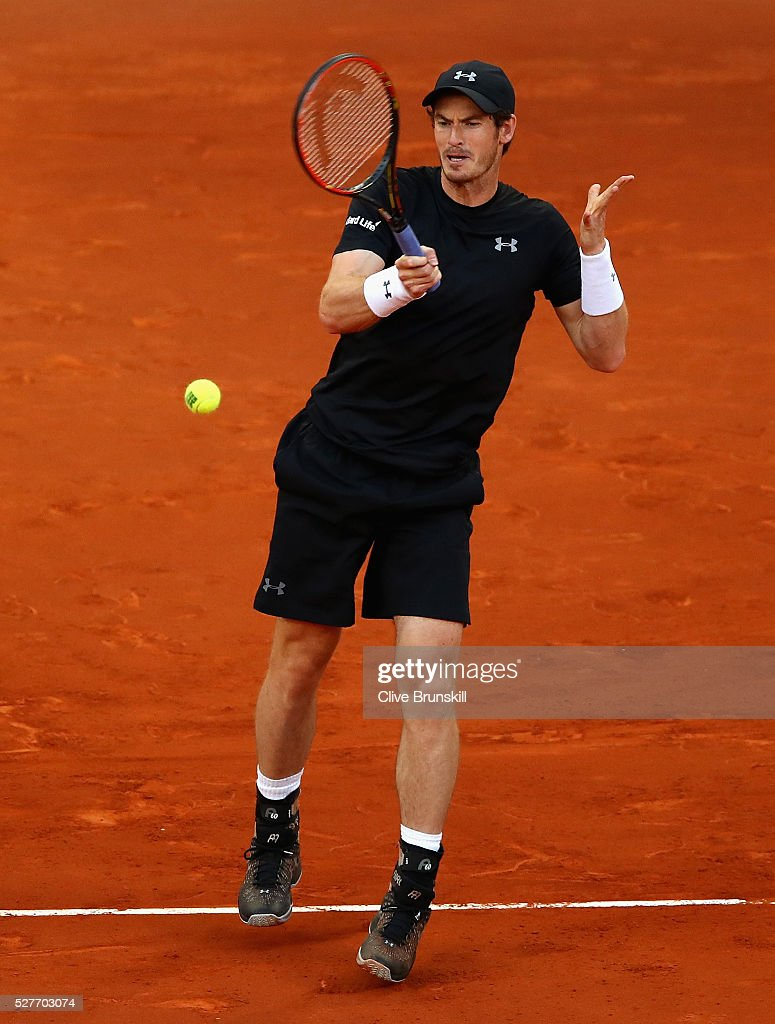 Andy Murray of Great Britain plays a forehand against Radek Stepanek of the Czech Republic in their second round match during day four of the Mutua Madrid Open tennis tournament at the Caja Magica on May 03, 2016 in Madrid,Spain.