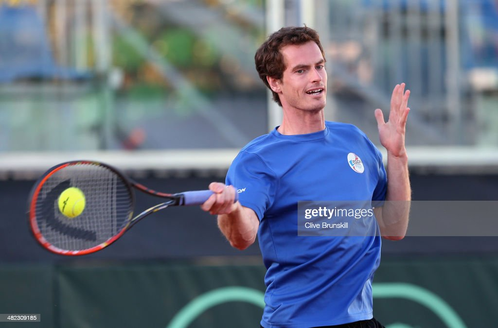 <a gi-track='captionPersonalityLinkClicked' href=/galleries/search?phrase=Andy+Murray+-+Tennis+Player&family=editorial&specificpeople=200668 ng-click='$event.stopPropagation()'>Andy Murray</a> of Great Britain plays a forehand during a late practice session prior to the Davis Cup World Group Quarter Final match between Italy and Great Britain at Tennis Club Napoli on April 3, 2014 in Naples, Italy.