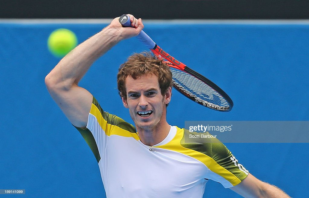 Andy Murray of Great Britain plays a forehand during a practice session ahead of the 2013 Australian Open at Melbourne Park on January 9, 2013 in Melbourne, Australia.