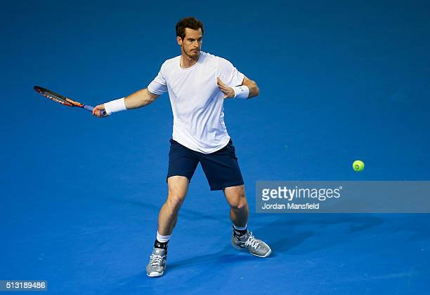 Andy Murray of Great Britain plays a forehand during a practice session ahead of the start of the Davis Cup tie between Great Britain and Japan at...