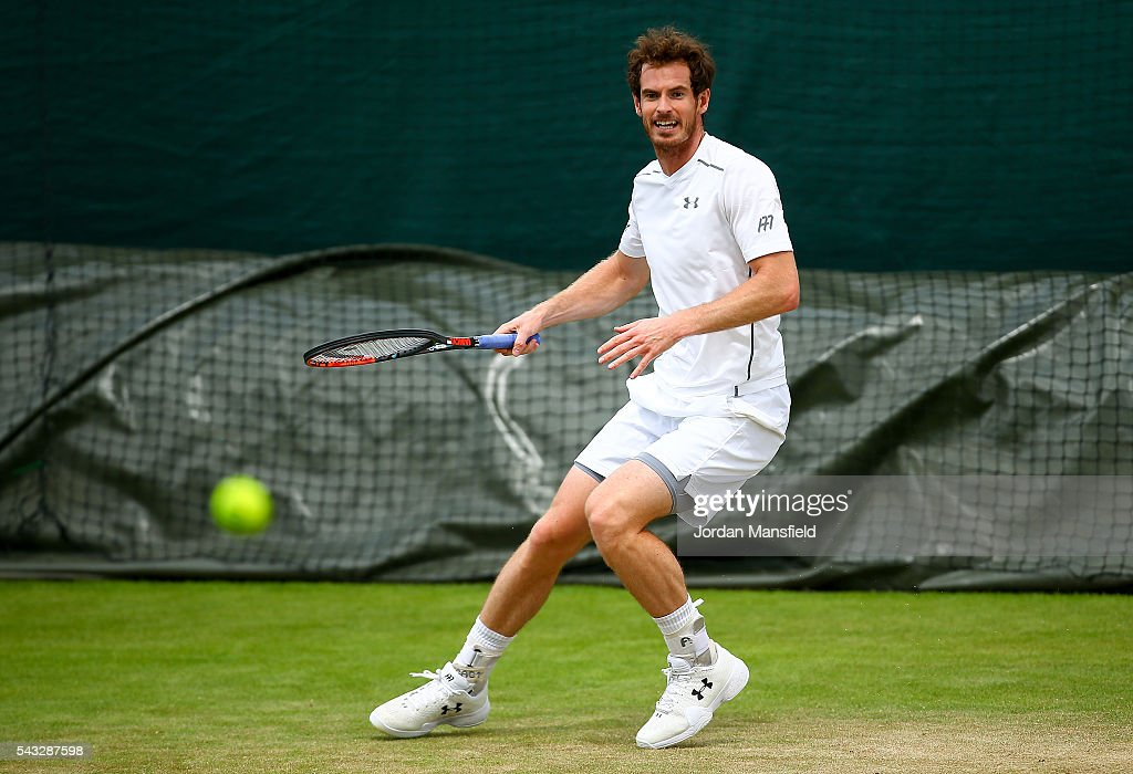 <a gi-track='captionPersonalityLinkClicked' href=/galleries/search?phrase=Andy+Murray+-+Tennis+Player&family=editorial&specificpeople=200668 ng-click='$event.stopPropagation()'>Andy Murray</a> of Great Britain plays a forehand during a practice session on day one of the Wimbledon Lawn Tennis Championships at the All England Lawn Tennis and Croquet Club on June 26, 2016 in London, England.