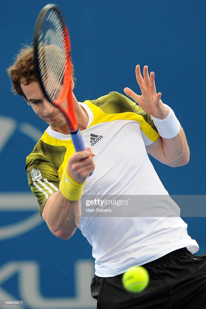 <a gi-track='captionPersonalityLinkClicked' href=/galleries/search?phrase=Andy+Murray+-+Tennis+Player&family=editorial&specificpeople=200668 ng-click='$event.stopPropagation()'>Andy Murray</a> of Great Britain plays a forehand during his final match against Grigor Dimitrov of Bulgaria on day eight of the Brisbane International at Pat Rafter Arena on January 6, 2013 in Brisbane, Australia.