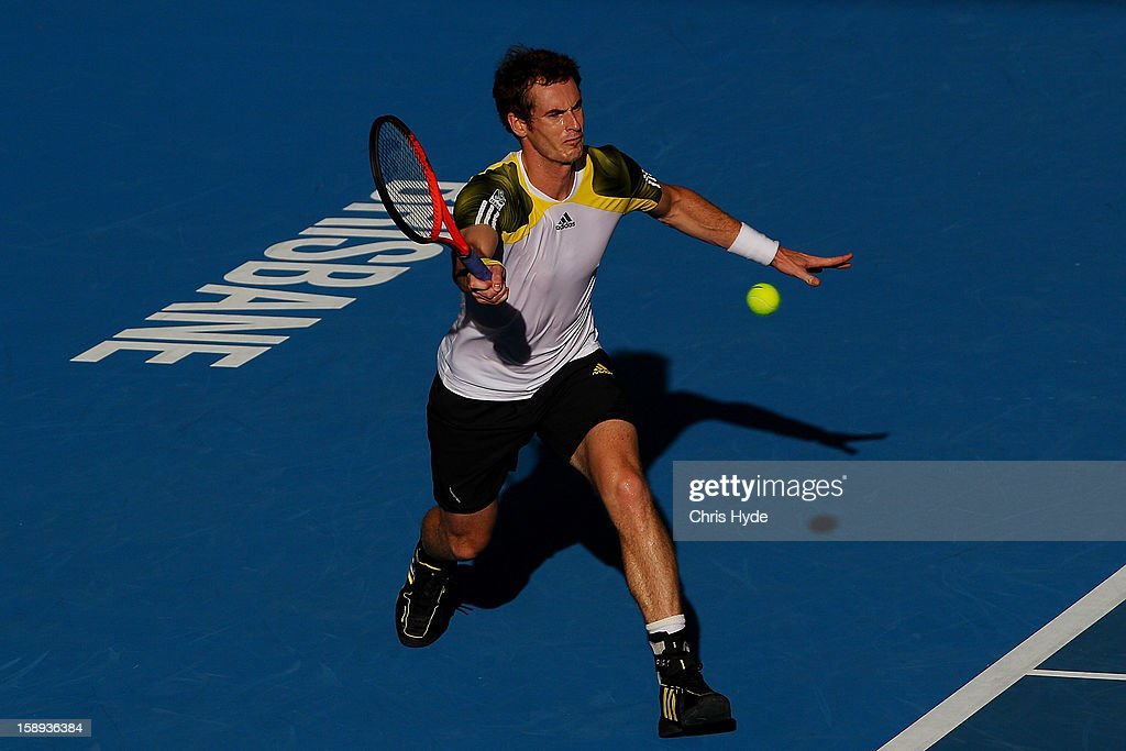 <a gi-track='captionPersonalityLinkClicked' href=/galleries/search?phrase=Andy+Murray+-+Tennis+Player&family=editorial&specificpeople=200668 ng-click='$event.stopPropagation()'>Andy Murray</a> of Great Britain plays a forehand during his match against Denis Istomin of Uzbekistan on day six of the Brisbane International at Pat Rafter Arena on January 4, 2013 in Brisbane, Australia.