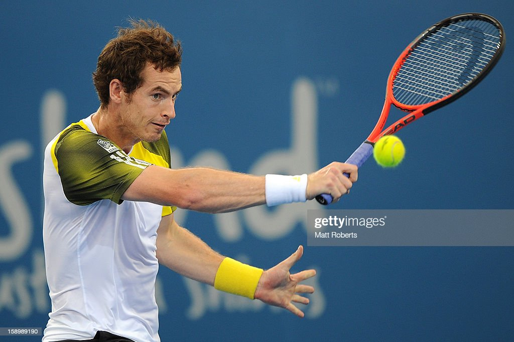 Andy Murray of Great Britain plays a forehand during his semi final match against Kei Nishikori of Japan on day seven of the Brisbane International at Pat Rafter Arena on January 5, 2013 in Brisbane, Australia.