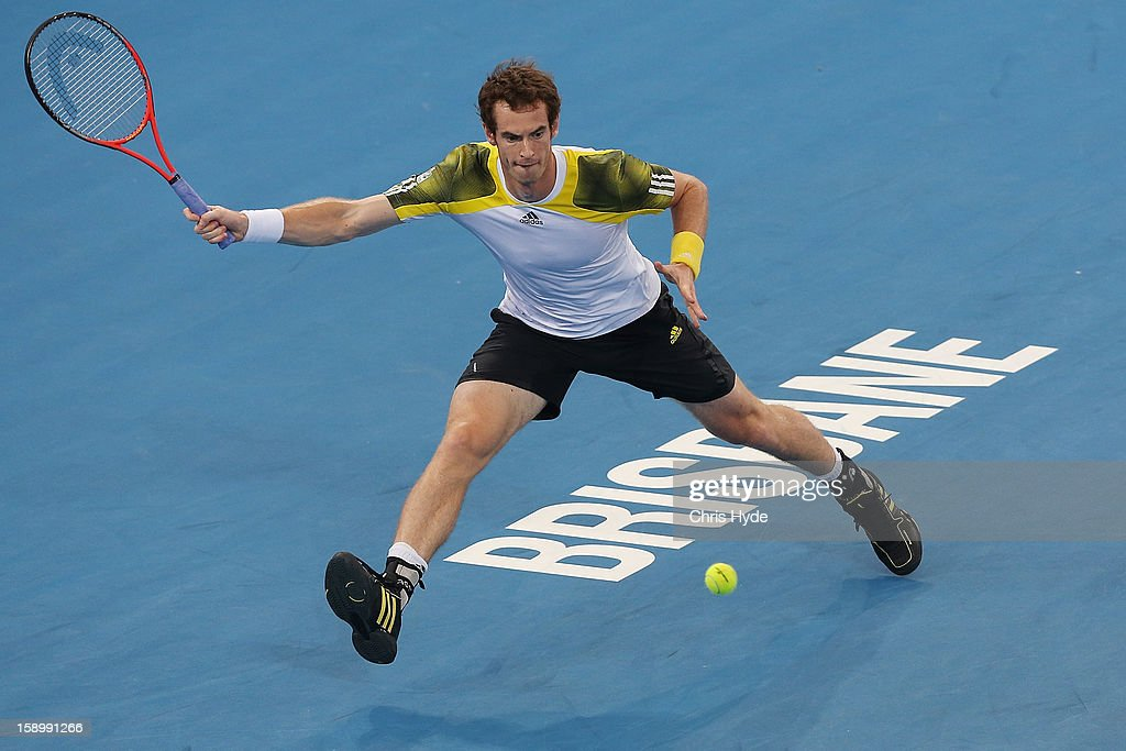 Andy Murray of Great Britain plays a forehand during his semi final match against Kei Nishikori of Japan during day seven of the Brisbane International at Pat Rafter Arena on January 5, 2013 in Brisbane, Australia.