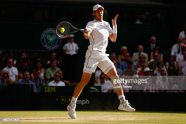 Andy Murray of Great Britain plays a forehand during the Gentlemens Singles Semi Final match against Roger Federer of Switzerland during day eleven...