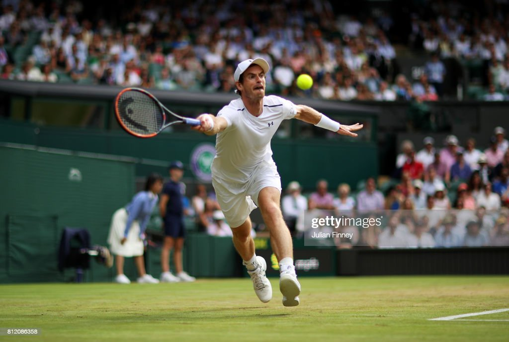 Andy Murray of Great Britain plays a forehand during the Gentlemen's Singles fourth round match against Benoit Paire of France on day seven of the Wimbledon Lawn Tennis Championships at the All England Lawn Tennis and Croquet Club on July 10, 2017 in London, England.
