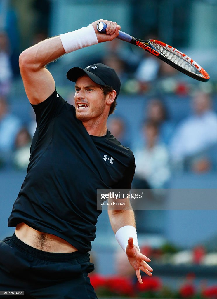 <a gi-track='captionPersonalityLinkClicked' href=/galleries/search?phrase=Andy+Murray+-+Tennisser&family=editorial&specificpeople=200668 ng-click='$event.stopPropagation()'>Andy Murray</a> of Great Britain plays a forehand during the Men's singles second round match against Radek Stepanek of the Czech Republic on day four of the Mutua Madrid Open at La Caja Magica on May 3, 2016 in Madrid, Spain.
