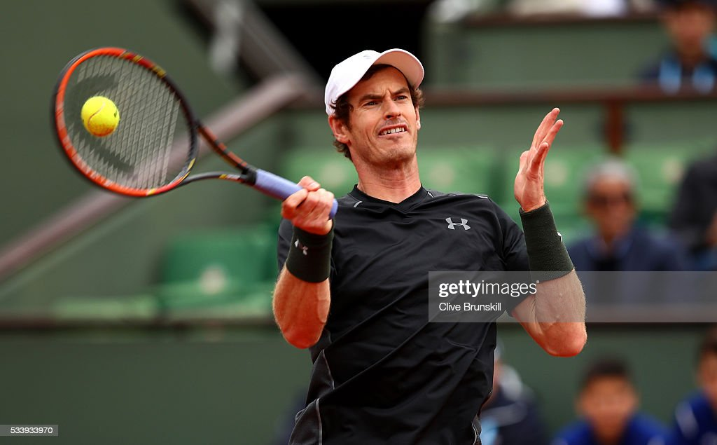 <a gi-track='captionPersonalityLinkClicked' href=/galleries/search?phrase=Andy+Murray+-+Tennis+Player&family=editorial&specificpeople=200668 ng-click='$event.stopPropagation()'>Andy Murray</a> of Great Britain plays a forehand during the Men's Singles first round match against Radek Stepanek of the Czech Republic on day three of the 2016 French Open at Roland Garros on May 24, 2016 in Paris, France.