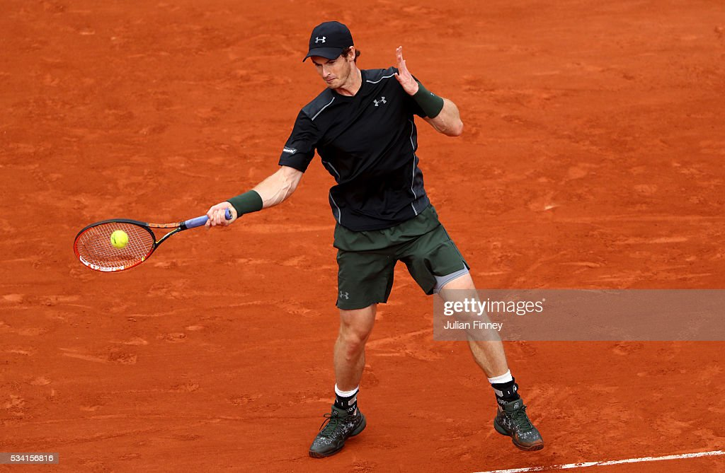 <a gi-track='captionPersonalityLinkClicked' href=/galleries/search?phrase=Andy+Murray+-+Tennis+Player&family=editorial&specificpeople=200668 ng-click='$event.stopPropagation()'>Andy Murray</a> of Great Britain plays a forehand during the Men's Singles second round match against Mathias Bourgue of France on day four of the 2016 French Open at Roland Garros on May 25, 2016 in Paris, France.