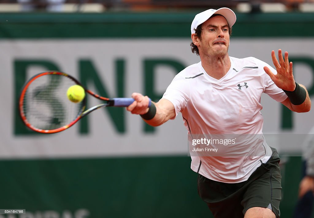 Andy Murray of Great Britain plays a forehand during the Men's Singles second round match against Mathias Bourgue of France on day four of the 2016 French Open at Roland Garros on May 25, 2016 in Paris, France.