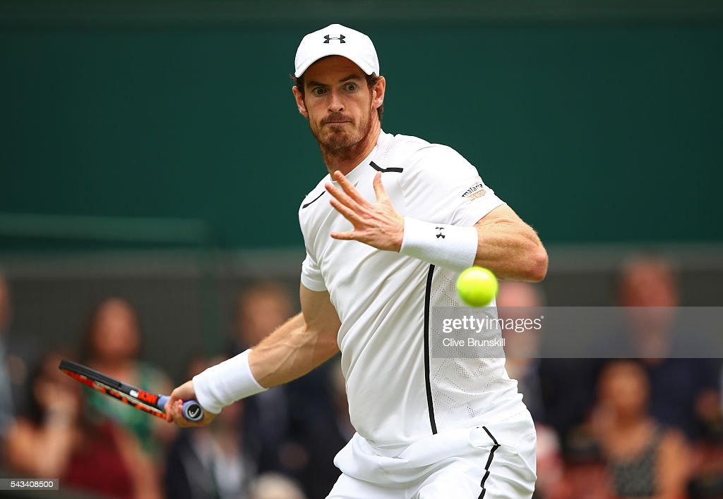 <a gi-track='captionPersonalityLinkClicked' href=/galleries/search?phrase=Andy+Murray+-+Tennis+Player&family=editorial&specificpeople=200668 ng-click='$event.stopPropagation()'>Andy Murray</a> of Great Britain plays a forehand during the Men's Singles first round match against Liam Broady of Great Britain on day two of the Wimbledon Lawn Tennis Championships at the All England Lawn Tennis and Croquet Club on June 28, 2016 in London, England.