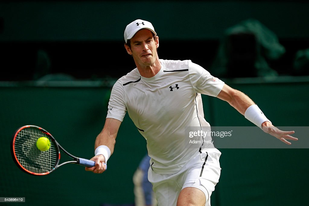 <a gi-track='captionPersonalityLinkClicked' href=/galleries/search?phrase=Andy+Murray+-+Tennis+Player&family=editorial&specificpeople=200668 ng-click='$event.stopPropagation()'>Andy Murray</a> of Great Britain plays a forehand during the Men's Singles second round match against Yen-Hsun Lu of Taipei on day four of the Wimbledon Lawn Tennis Championships at the All England Lawn Tennis and Croquet Club on June 30, 2016 in London, England.