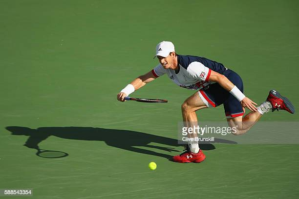 Andy Murray of Great Britain plays a forehand during the men's singles third round match against Fabio Fognini of Italy on Day 6 of the 2016 Rio...