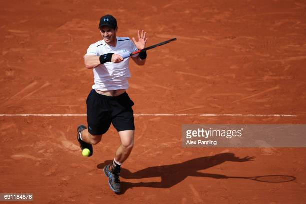 Andy Murray of Great Britain plays a forehand during the mens singles second round match against Martin Klizan of Slovakia on day five of the 2017...