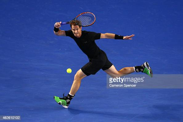 Andy Murray of Great Britain plays a forehand in his men's final match against Novak Djokovic of Serbia during day 14 of the 2015 Australian Open at...