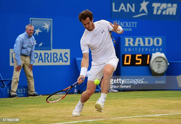 Andy Murray of Great Britain plays a forehand in his men's singles final match against Kevin Anderson of South Africa during day seven of the Aegon...