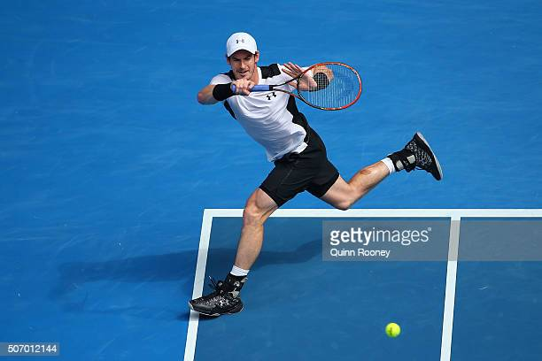 Andy Murray of Great Britain plays a forehand in his quarter final match against David Ferrer of Spain during day 10 of the 2016 Australian Open at...