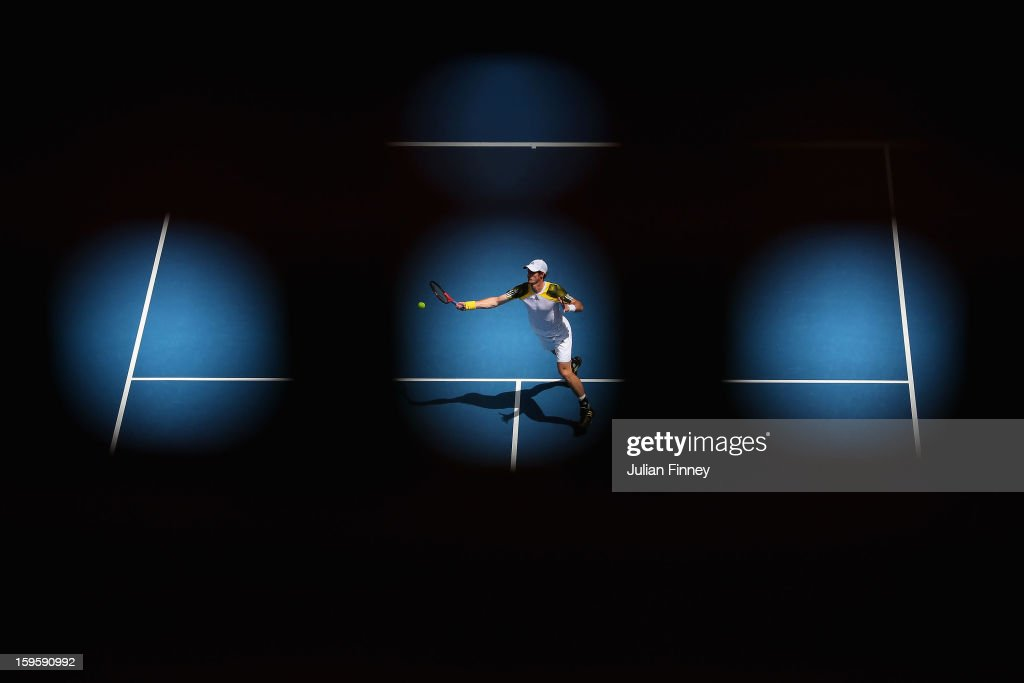 Andy Murray of Great Britain plays a forehand in his second round match against Joao Sousa of Portugal during day four of the 2013 Australian Open at Melbourne Park on January 17, 2013 in Melbourne, Australia.