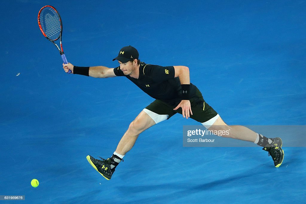 Andy Murray of Great Britain plays a forehand in his second round match against Andrey Rublev of Russia on day three of the 2017 Australian Open at Melbourne Park on January 18, 2017 in Melbourne, Australia.