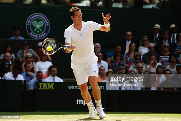 Andy Murray of Great Britain plays a forehand return during his Gentlemen's Singles quarterfinal match against Grigor Dimitrov of Bulgaria on day...