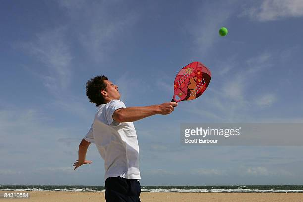 Andy Murray of Great Britain plays a game of beach tennis at Port Melbourne ahead of the Australian Open 2009 at Melbourne Park on January 16 2009 in...