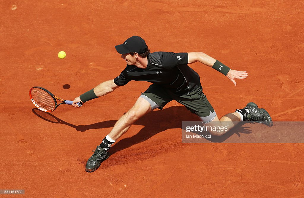 <a gi-track='captionPersonalityLinkClicked' href=/galleries/search?phrase=Andy+Murray+-+Tennis+Player&family=editorial&specificpeople=200668 ng-click='$event.stopPropagation()'>Andy Murray</a> of Great Britain plays a shot during the Men's Singles Second round match against Mathias Bourgue of France on day Four of the 2016 French Open at Roland Garros on May 25, 2016 in Paris, France .