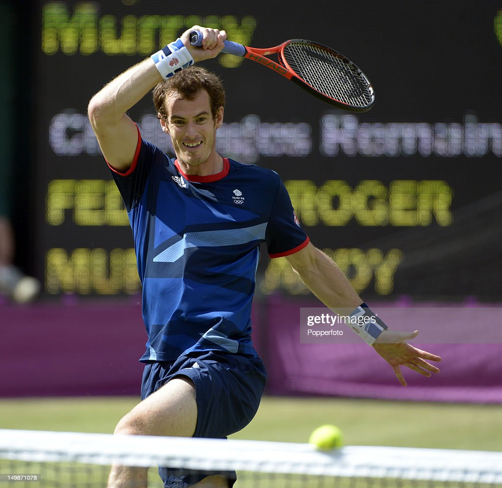 <a gi-track='captionPersonalityLinkClicked' href=/galleries/search?phrase=Andy+Murray+-+Tennis+Player&family=editorial&specificpeople=200668 ng-click='$event.stopPropagation()'>Andy Murray</a> of Great Britain plays against Roger Federer of Switzerland during the Men's Singles Tennis Gold Medal Match on Day 9 of the London 2012 Olympic Games at the All England Lawn Tennis and Croquet Club on August 5, 2012 in London, England.
